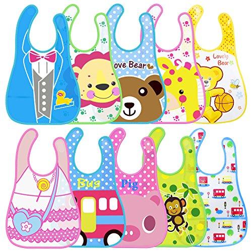 Amteker 10 Stück Baby Lätzchen Wasserdicht Unisex Cartoon Drucken für Kinder Mädchen Jungen 6-36 Monaten