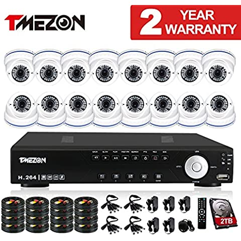 TMEZON HD-AHD 16CH 1080N Sistema de cámaras de seguridad de la vigilancia Con la visión 16x2.0MP la noche al aire libre Cámara de CCTV 2.8-12mm lente de distancia focal variable,Apoyar monitor remoto Por Smartphone,2TB disco