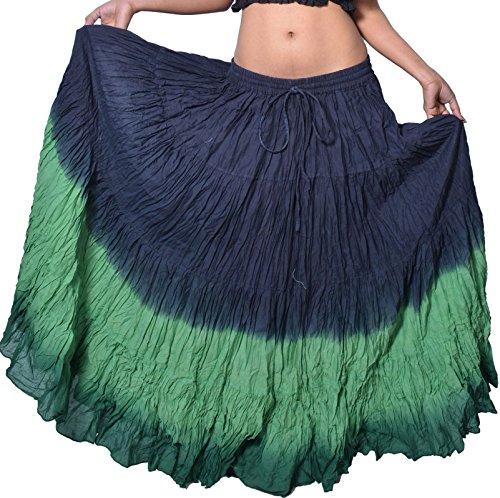 Wevez Damen Rock, schöner Zigeuner-Stil, Bauchtanz-Outfit, Baumwolle, 11 m Stoff - Einheitsgröße - Black/Green/Dark (Outfit Zigeuner)