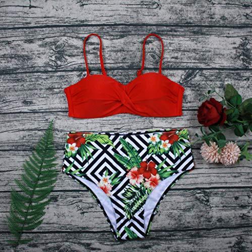 Bikini-Sets Damen, Geteilter Badeanzug Frauen High Waist Geblümte Schwimmanzug Einfarbiges Wickel Slip Bikinihosen Badeanzüge Zweiteiler Bademode Swimsuit Swimwear Bekleidung (Rot, M) - 3