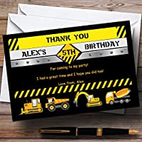Digger Jcb Construction Builder Personalised Birthday Party Thank You Cards
