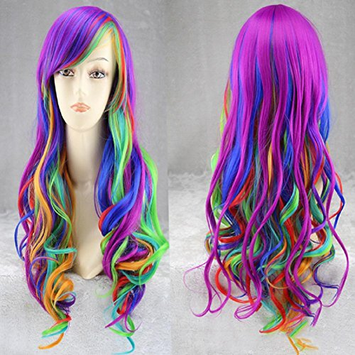 Damen Mode Lange Curly Wave Regenbogen Mehrfarbige Synthetik Haar Halloween Cosplay Party Voll Perücken (Perücke Curly Damen Volle)