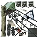 "Deluxe Full Carp fishing Set Up With Rods, Reels, Alarms, 42"" Net, Holdall, Bait, Bivvy & Tackle by REDWOODTACKLE"