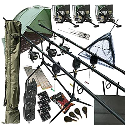 """Deluxe Full Carp fishing Set Up With Rods, Reels, Alarms, 42"""" Net, Holdall, Bait, Bivvy & Tackle by REDWOODTACKLE"""