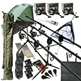 "Deluxe Full Carp fishing Set Up With Rods, Reels, Alarms, 42"" Net, Holdall, Bait, Bivvy & Tackle"