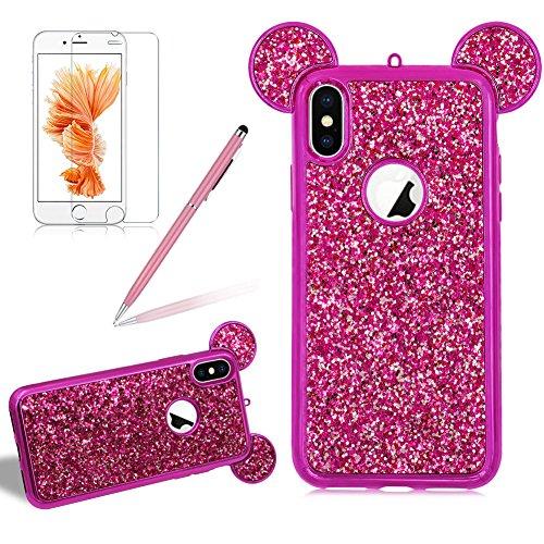 Silikon Glitzer Hülle für iPhone X, Girlyard Plating Weiche TPU Strass Maus Ohren Bling Backcover, 3D Kreativ Design Schutzhülle Flexibel Rubber Etui und Ultra Slim Case für Apple iPhone X -- Rose Rot