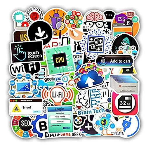 50 STÜCKE Programmiersprache Aufkleber Internet HTML Software wasserdichte Aufkleber für Geek Hacker Entwickler zu DIY Laptop Telefon Auto