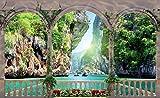 VLIESFOTOTAPETE Fototapete Tapete Wandbild Vlies | Welt-der-Träume| Felsen Tunnel Terrasse Aussicht | VEXL (208cm. x 146cm.) | Photo Wallpaper Mural 1071VEXL-AW | Natur Blumen Stein Fels Steilhang Grün Insel Blau