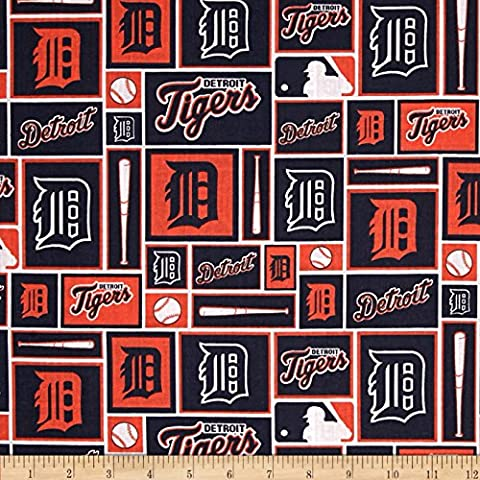 MLB Cotton Broadcloth Detroit Tigers Navy/Orange Fabric by Fabri-Quilt - Tigers Fleece Fabric
