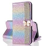 KANTAS Galaxy J6 Glitter Case, PU Leather Book Case 3D