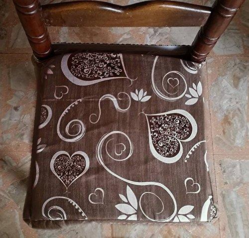 Intimodagiovanni - Lot de 6 galettes de chaise universelles carrées, avec housse amovible et fermeture éclair, style shabby chic (motifs cœurs et fleurs), marron