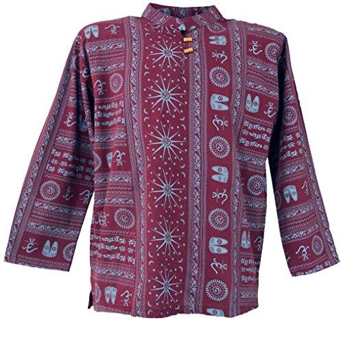 Yoga Hemd, Goa Hemd Om / Männerhemden Bordeaux