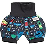 Lilakind Kurze Kinder-Hose Baby Shorts Buxe Sommerhose Monster Grau Gr. 86/92- Made in Germany