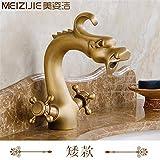 GQLB kreative Kupfer retro Wasserhahn mit heißen und kalten Höhe dragon Form Griff