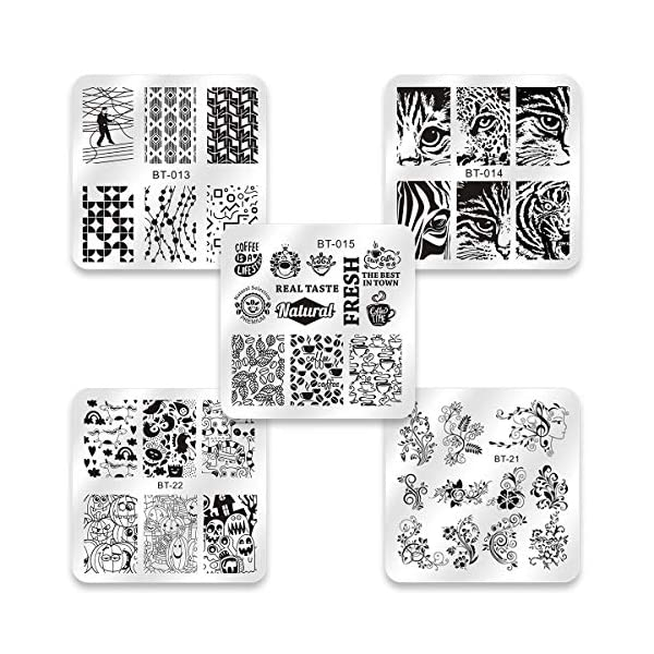 Biutee Placas Estampacion Uñas 10pcs Stamping Nail Arte de Acero Inoxidable Kit Estampacion Uñas