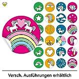24 Schmucketiketten | Selbstklebend | Einhorn / Unicorn | Rund | M » Ø 40 mm | Multicolor-B | F00110-24 | Scrapbookingsticker Dekosticker Geschenkaufkleber von Cute-Head » CuteLove & Head-Beat