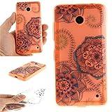 Ooboom® Nokia Lumia 630/635 Hülle Handy Tasche Transparent TPU Silikon Ultra Dünn Schlank Schutzhülle Case Cover für Nokia Lumia 630/635 - Blau Blume
