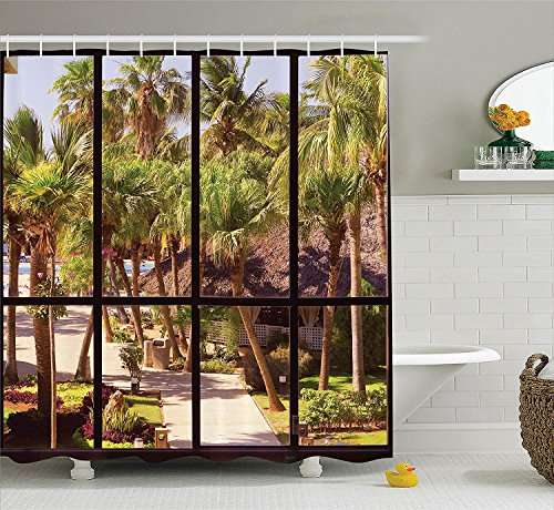 BUZRL House Decor Collection, View of a Tropical Garden Through a Panoramic Window Summertime Touristic Palm Tree Image, Polyester Fabric Bathroom Shower Curtain, 66x72 inches, Green Ivory -