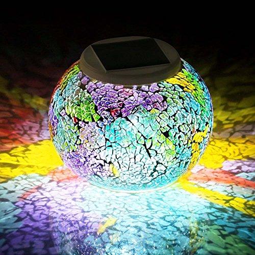 Gartenleuchten Solar Mosaik Glaskugel, ZONCENG1 Farbwechsel-LED Sonnenlicht Wasserdicht SolarbetriebenTischlampen für Schlafzimmer Nachtlicht für Innen- oder Außendekorationen (Regenbogen)