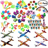 iBaseToy Carnival Prizes, 100PCS Toy Assortment Party Favours Toys for Kids Birthday, School Classroom Rewards, Party Bag Fillers with Flying Glider Planes, Pull-back Cars, Stamp, Party Noise Maker