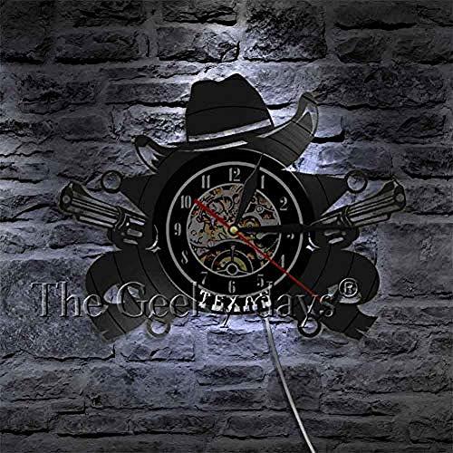 AGlitw Cowboy Wanduhr Western Cowboy Hat Skyline Symbol Schallplatte Wanduhr 3D Wanduhren Modernes Design Wall DecorB