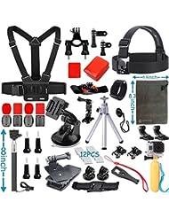 Zubehör Set für GoPro Hero 5 4 3+ 3 2 1 Black Silver, Aktion Kamera Zubehör-Kit für SJ4000 SJ5000 SJ6000 SJ7000