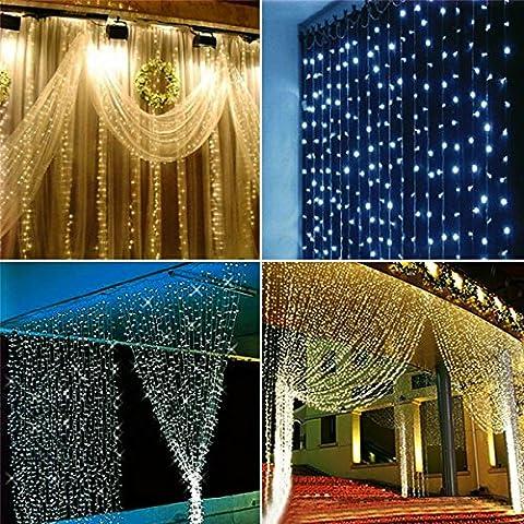 KING DO WAY 6 Mètres X 3 Mètres Rideaux Guirlande Lumineuses 600 LEDs Décorative Fenêtre Fête Noël Partie Mariage Jardin Intérieur Extérieur LED Hanging Fairy Lights Rose