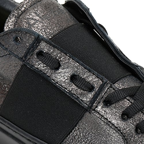 ALESYA SPORT by Scarpe&Scarpe - Sneaker mit Gummizug in Kontrastfarbe, Leder Antracite