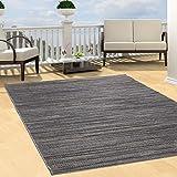 Teppich Flachflor Modern Outdoor fest Geknüpft Outside Sunset Liniert-Grau 80 x 150 cm