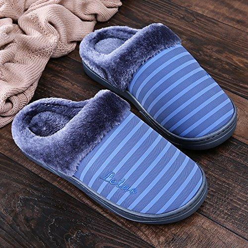 Inverno fankou cotone a strisce di pantofole femmina pacchetto spessa con piscina casa skid impermeabile base morbida home men Gelb