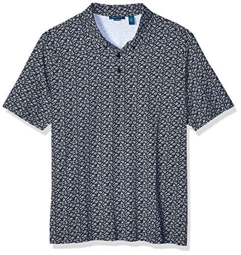 Perry Ellis Herren Big and Tall Pima Cotton Print Short Sleeve Polo Shirt Poloshirt, Saphir, dunkel, 4X-Large -