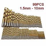 Drillpro Set di punte per trapano 99 Pezzi HSS Trapano Set Titanio Trapano in Metallo Mano Punta elicoidale 1.5mm - 10mm