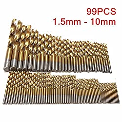 Drillpro HSS Bohrer Set 99 tlg.Titanium Metallbohrer Spiralbohrer Handspiralbohrer 1.5mm - 10mm