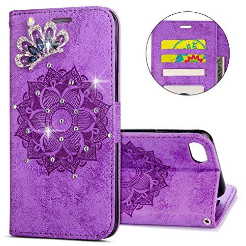 ikasefu iPhone 7, iPhone 8Fall, 3D Klar Krone Strass Diamant Bling Glitzer Wallet mit Kartenhalter Relief Mandala Floral PU Leder magnetische Flip Fall Schutzhülle für iPhone 7/8 violett - Floral Wallet