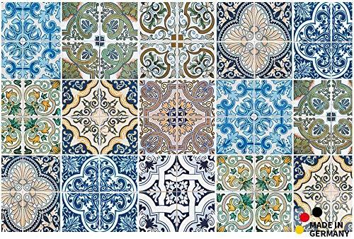 matches21 Fußmatte Fußabstreifer Flat Kacheln Muster Retro blau bunt 44x67x0,5 cm Flache Textil Oberfläche waschbar