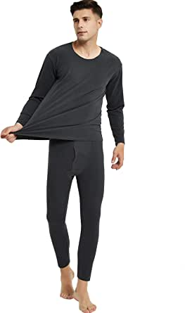Bestgift Men's Monochrome Ultra Thin Long Underwear for Winter