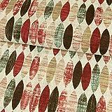Dekostoff ovales Retro Muster rot Canvasstoff - Preis gilt für 0,5 Meter -