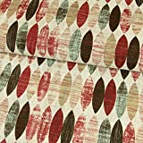 Dekostoff ovales Retro Muster rot Canvasstoff - Preis gilt