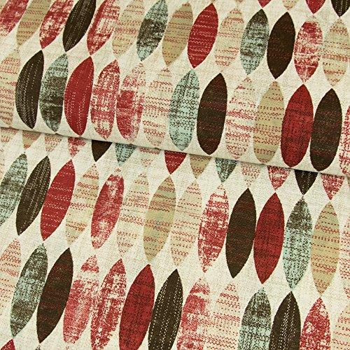 Stoffe Werning Dekostoff ovales Retro Muster rot Canvasstoff - Preis Gilt für 0,5 Meter - - Baumwoll-canvas Stoff