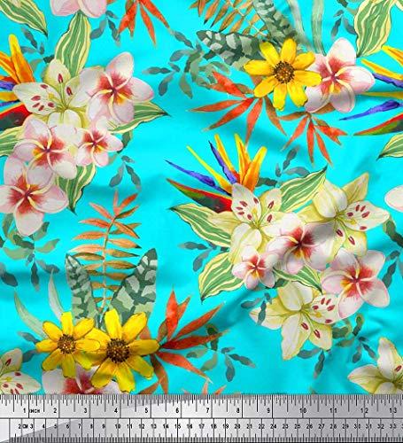 off Tropische Blätter, Plumeria & Heliconia Blume Stoff drucken Meter 42 Zoll breit ()