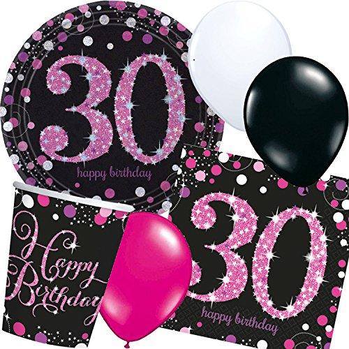 Neu: 44-Teiliges Party-Set * Magenta Sparkling * für Den 30. Geburtstag mit Teller + Becher + Servietten + Luftballons   Deko Set Party Motto Dreißig (Servietten Teller Geburtstag Und 30.)