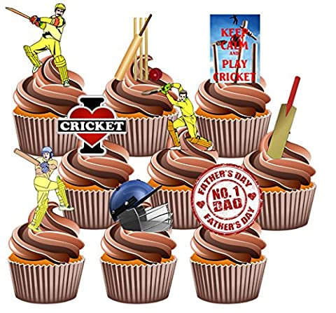 Father's Day Cricket Themed Cake Decorations - Edible Stand-up Cup Cake Toppers (pack of 12)