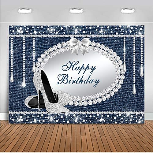 iamanten Party Hintergrund 7x5ft Vinyl Funkelnde Diamanten Kristall High Heels Foto Kulissen Alles Gute zum Geburtstag Fotografie Hintergrund ()
