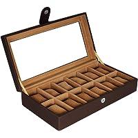 Leather World Watch Box for 12 Watches | Watch Case | Watch Holder | Watch Organizer Designer in Pu Leather