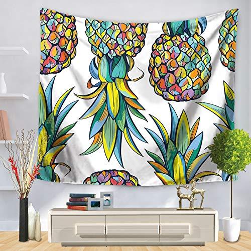 ZGQQQ Wandteppich Mauerwerk Hängende Gold Glitter Ananas-Katze Böhmisches Bedverbreitung Dorm Cover Home Room Art Decor Mat Textiles 150 * 200CM -