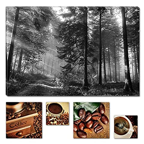 Lumière Eco Bundle à couper le Souffle sur toile Route dans la forêt 80x 119,9cm pour décoration intérieure et Lovely de cuisine Coffee Collage Lot de 4moderne encadrés