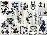 10 Bögen SCHWARZE FAKE TATTOOS FÜR MÄNNER Kleine Bögen Tattoo Aufkleber für Körper Drachen Fuchs Totenkopf und mehr