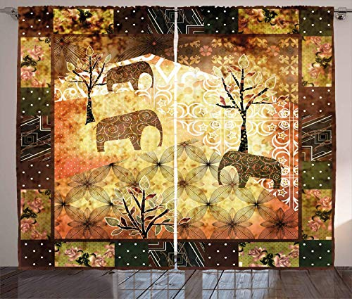 FAFANIQ African Curtains, Patchwork Inspired Pattern Grunge Vintage Featured Elephants Trees Roses...