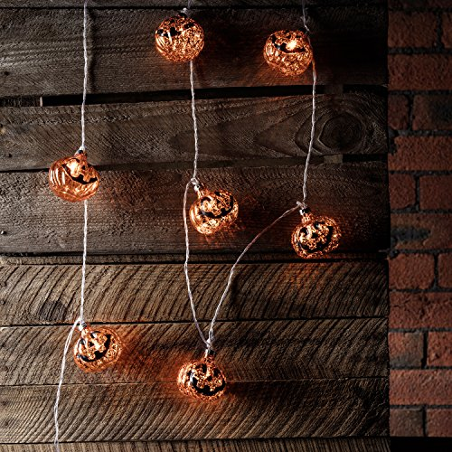10 Halloween Pumpkin Bauble Battery Operated LED Fairy Lights by Lights4fun