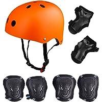 Casco di Kit di Protezioni 6 Pezzi Casco da BMX Pads genouillères di Gomito con protège-poignets per Patin, Bicicletta, Skateboard, Scooter